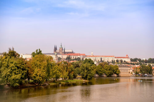 View of Prague Castle, St. Vitus Cathedral and Vltava river. Czech Republic - slon.pics - free stock photos and illustrations