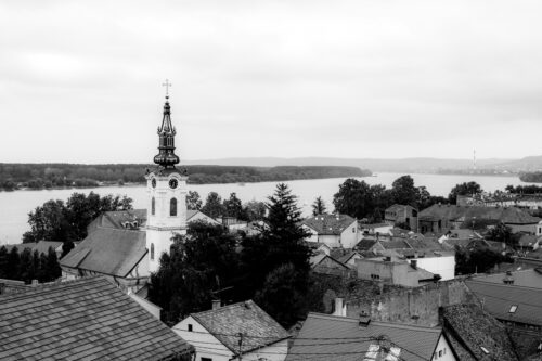 View of Zemun town with Saint Nicholas church and Danube river from Gardos Tower. Belgrade, Republic of Serbia - slon.pics - free stock photos and illustrations