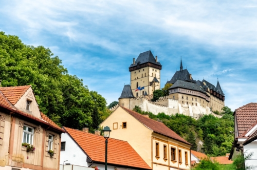 Village of Karlstejn village and Karlstejn Castle. Central Bohemia, Czech Republic - slon.pics - free stock photos and illustrations
