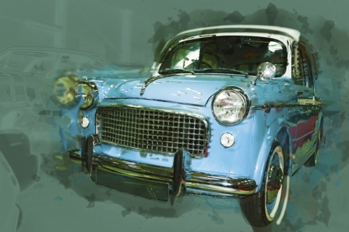 Vintage car drawn illustration. Digital Illustration - slon.pics - free stock photos and illustrations