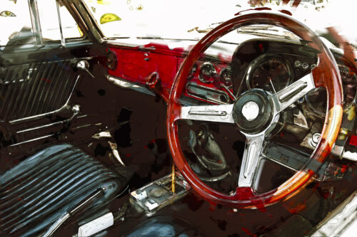 Vintage car interior. Digital Illustration - slon.pics - free stock photos and illustrations
