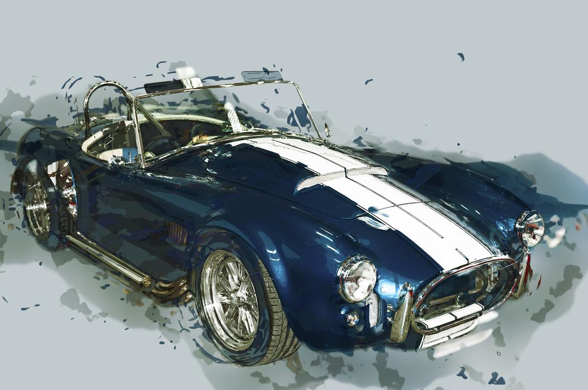 Vintage sport car. Digital Illustration - slon.pics - free stock photos and illustrations