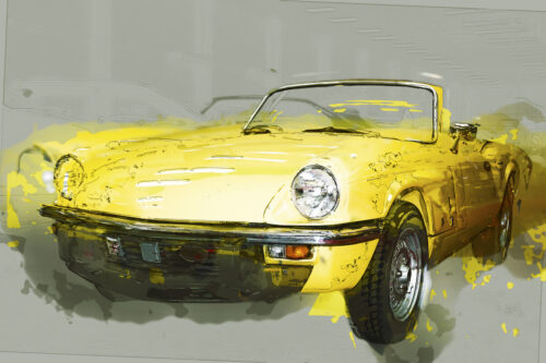 Vintage yellow cabriolet. Digital Illustration - slon.pics - free stock photos and illustrations