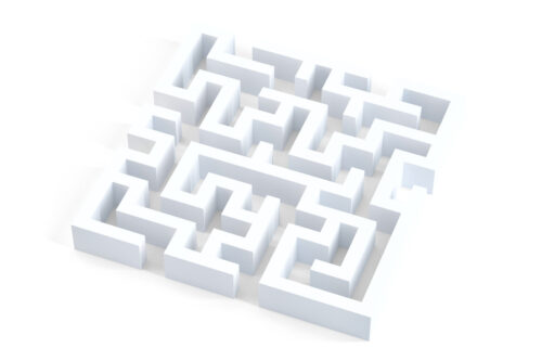 White maze. 3D illustration. Isolated. Contains clipping path - slon.pics - free stock photos and illustrations