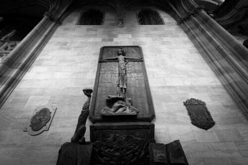 Wooden statue of crucified Christ. St Vitus Cathedral. Prague, Czech Republic - slon.pics - free stock photos and illustrations