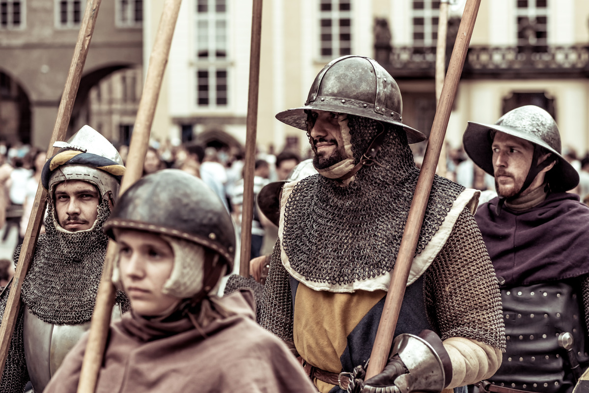Armored knights lead the march of Charles IV at re-enactment of the Coronation of Charles IV in Prague Castle. Prague, Czech Republic. September 04, 2016 - slon.pics - free stock photos and illustrations