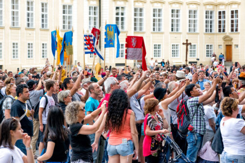 Crowd at re-enactment of the Coronation of Charles IV in Prague Castle. Prague, Czech Republic. September 04, 2016 - slon.pics - free stock photos and illustrations