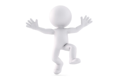 Happy jumping man. 3D illustration. Isolated. Contains clipping path - slon.pics - free stock photos and illustrations
