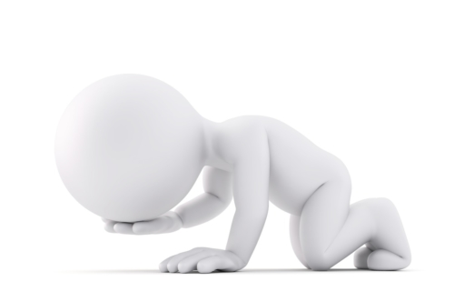 Huddled kneeling man. 3D illustration. Isolated. Contains clipping path - slon.pics - free stock photos and illustrations