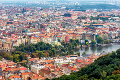 Overlooking the historic town centre of Prague. Czech Republic - slon.pics - free stock photos and illustrations