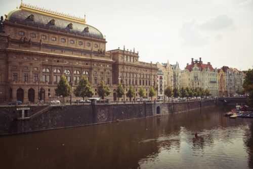 Smetanovo Embankment and National Theatre. Prague, Czech Republic - slon.pics - free stock photos and illustrations