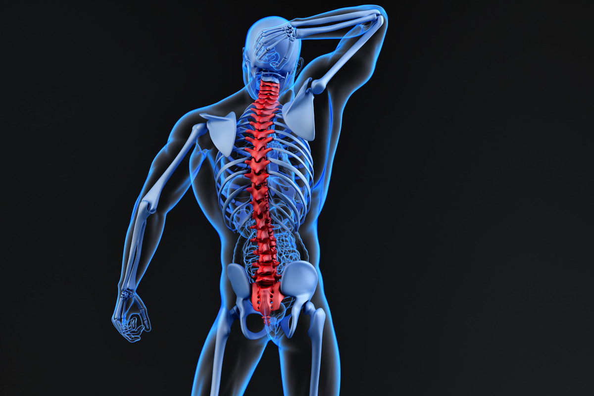 Spine pain, man with backache and ache in the neck - slon.pics - free stock photos and illustrations