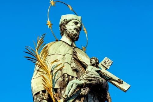Statue of St John Nepomuk on Charles Bridge. Prague, Czech Republic - slon.pics - free stock photos and illustrations