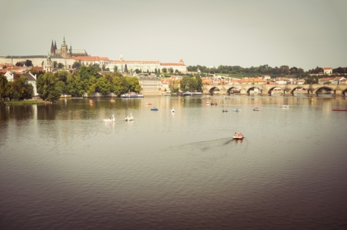 View of Prague Castle, Hradcany and Charles Bridge across the Vltava river - slon.pics - free stock photos and illustrations