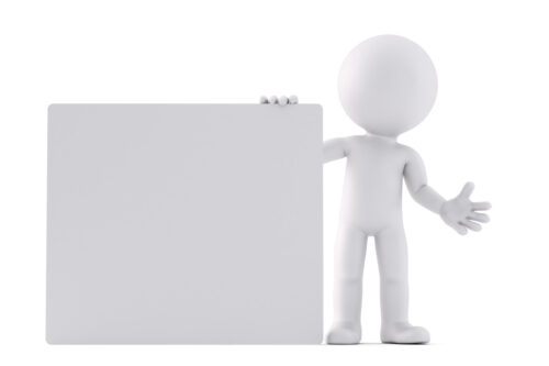 Man holding a blank board. 3D illustration. Isolated. Contains clipping path - slon.pics - free stock photos and illustrations