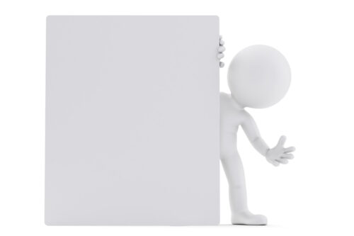 Man looking out from behind the blank board. 3D illustration. Isolated. Contains clipping path - slon.pics - free stock photos and illustrations