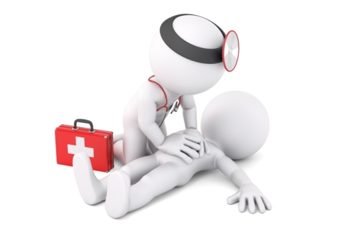 Paramedic helping to unconscious young man. 3D illustration. Isolated. Contains clipping path - slon.pics - free stock photos and illustrations
