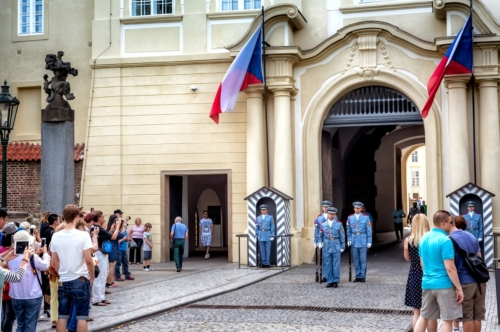 Changing of the Guard at Prague Castle, Hradcany, Castle District. Prague, Czech Republic. September 04, 2016 - slon.pics - free stock photos and illustrations
