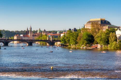 National Theatre, Legii bridge and Vltava river. Prague, Czech Republic - slon.pics - free stock photos and illustrations