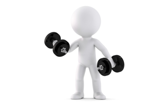 3d man exercising with dumbbells. 3D illustration. Isolated. Contains clipping path - slon.pics - free stock photos and illustrations