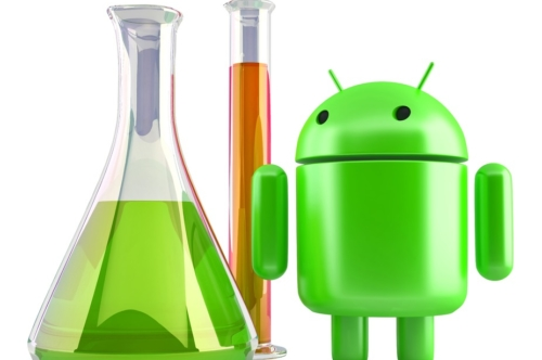 Android robot with laboratory glassware. 3D illustration. Isolated. Contains clipping path - slon.pics - free stock photos and illustrations