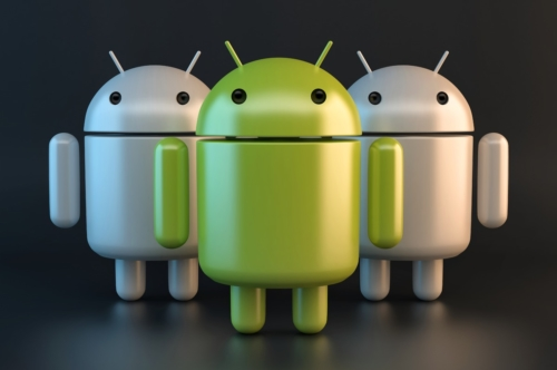 Group of Android robots. 3D illustration. Contains clipping path - slon.pics - free stock photos and illustrations
