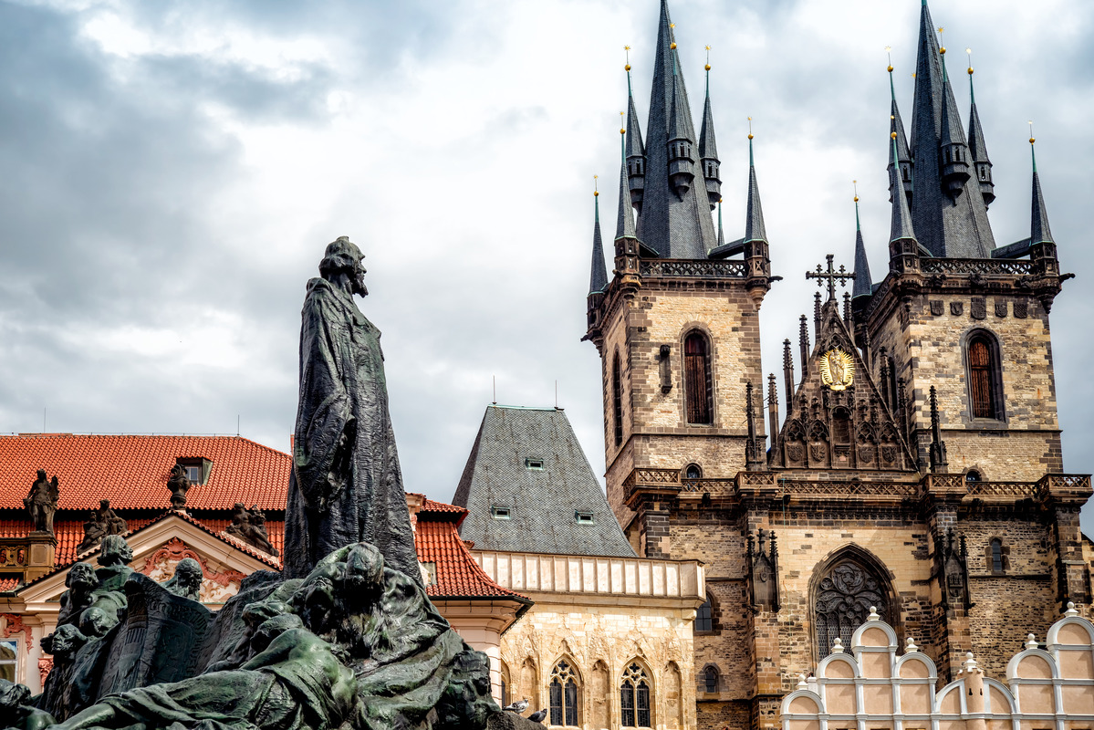 Jan Hus monument in front of St Mary Church. Prague, Czech Republic - slon.pics - free stock photos and illustrations