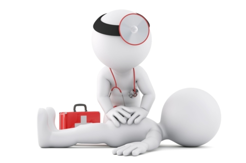 Paramedic providing first aid support. 3D illustration. Isolated. Contains clipping path - slon.pics - free stock photos and illustrations