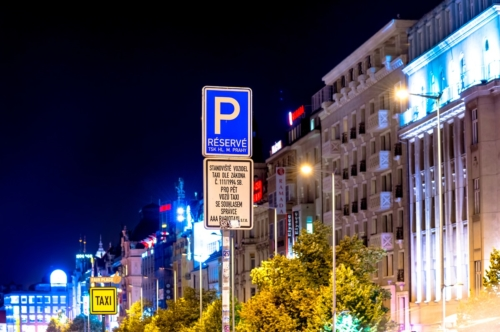 Parking traffic sign at Wenceslas Square. Prague, Czech Republic - slon.pics - free stock photos and illustrations