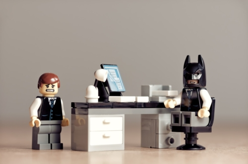 Scene in the office between the boss and timid worker - slon.pics - free stock photos and illustrations