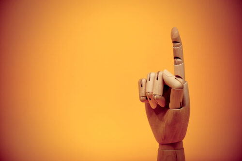 Wooden finger pointing upwards - slon.pics - free stock photos and illustrations