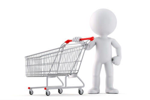3d Man with shopping cart. Isolated. Contains clipping path - slon.pics - free stock photos and illustrations