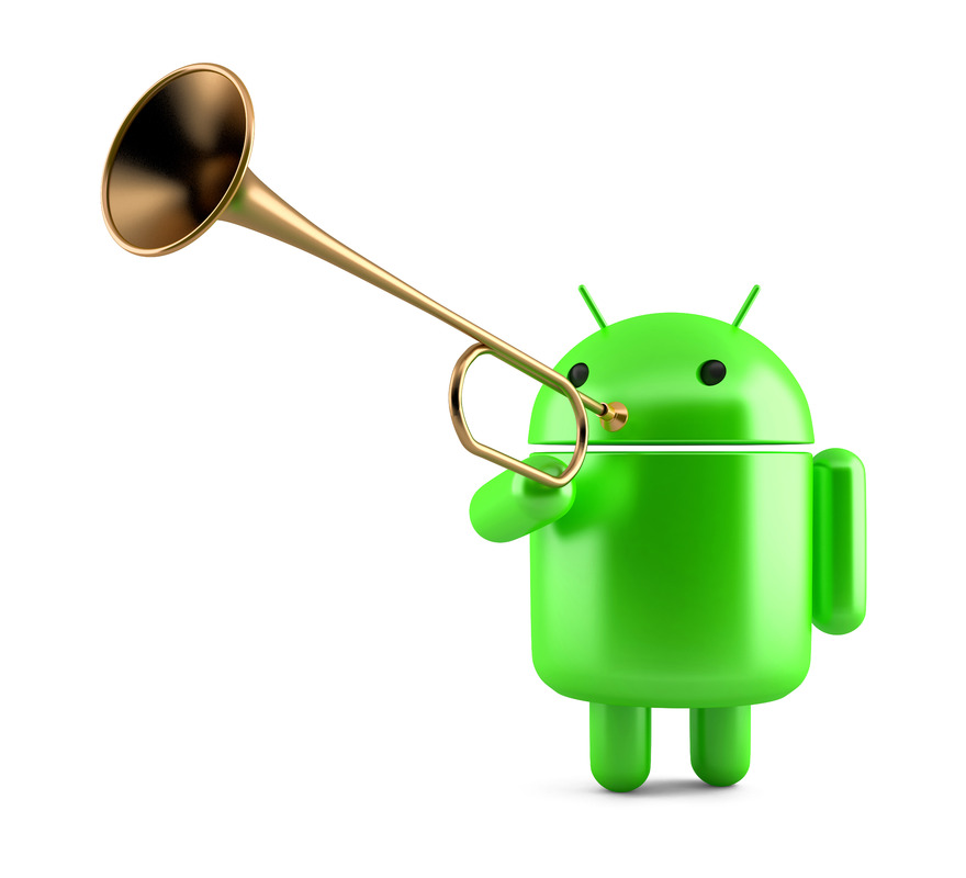 Android Robot with trumpet. Technology concept. 3D illustration. Isolated Contains clipping path. - slon.pics - free stock photos and illustrations