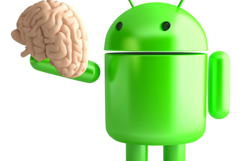 Android robot holding human brain. 3D illustration. Isolated. Contains clipping path - slon.pics - free stock photos and illustrations