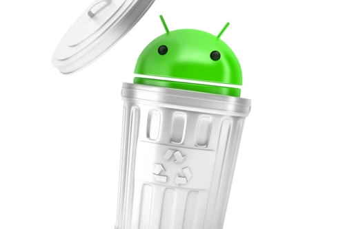 Android robot inside recycle bin. 3D illustration. Isolated. Contains clipping path - slon.pics - free stock photos and illustrations