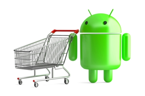 Android robot with shopping cart. 3D illustration. Isolated. Contains clipping path - slon.pics - free stock photos and illustrations