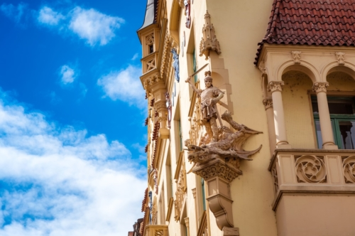 Beautiful facade of old building in Jewish Quarter. Czech Republic, Prague. - slon.pics - free stock photos and illustrations