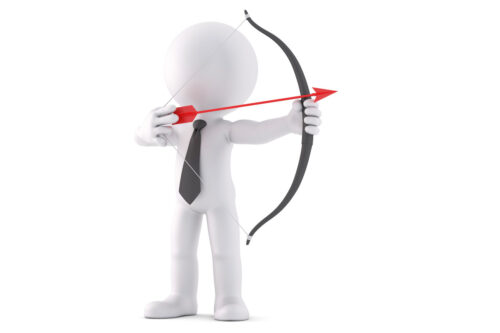 Businessman with bow and arrow. 3D illustration. Isolated. Contains clipping path - slon.pics - free stock photos and illustrations