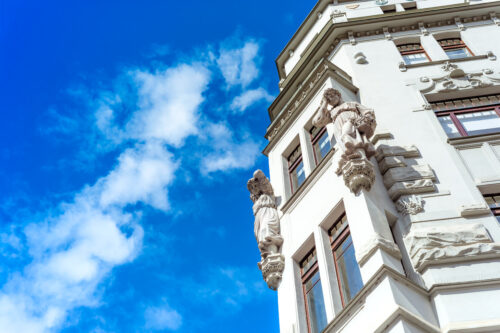Facade of old building in Jewish Quarter. Czech Republic, Prague - slon.pics - free stock photos and illustrations