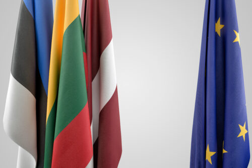 Flags of Baltic states and EU. Geopolitical concept - slon.pics - free stock photos and illustrations