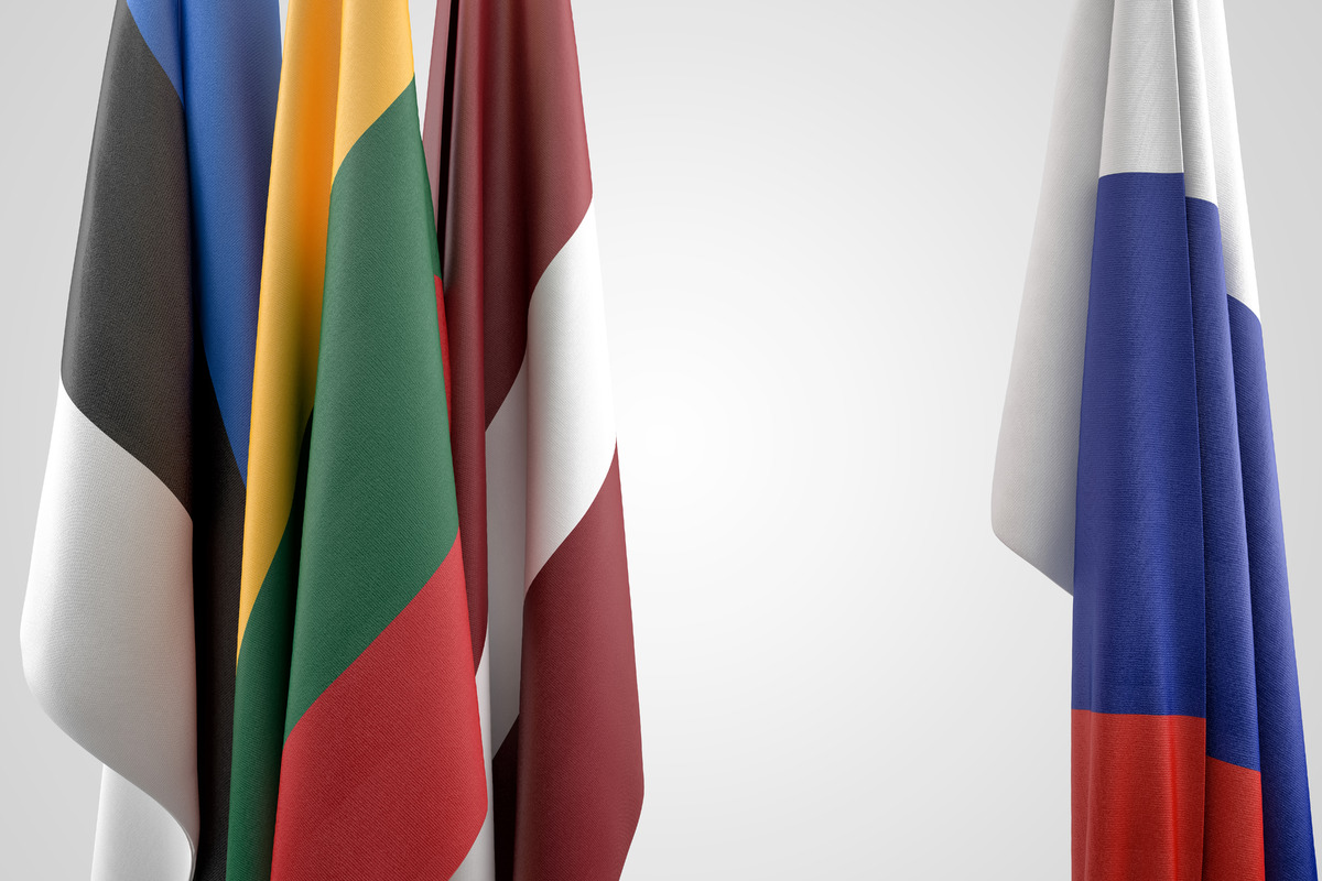 Flags of Baltic states and Russia. Geopolitical concept - slon.pics - free stock photos and illustrations