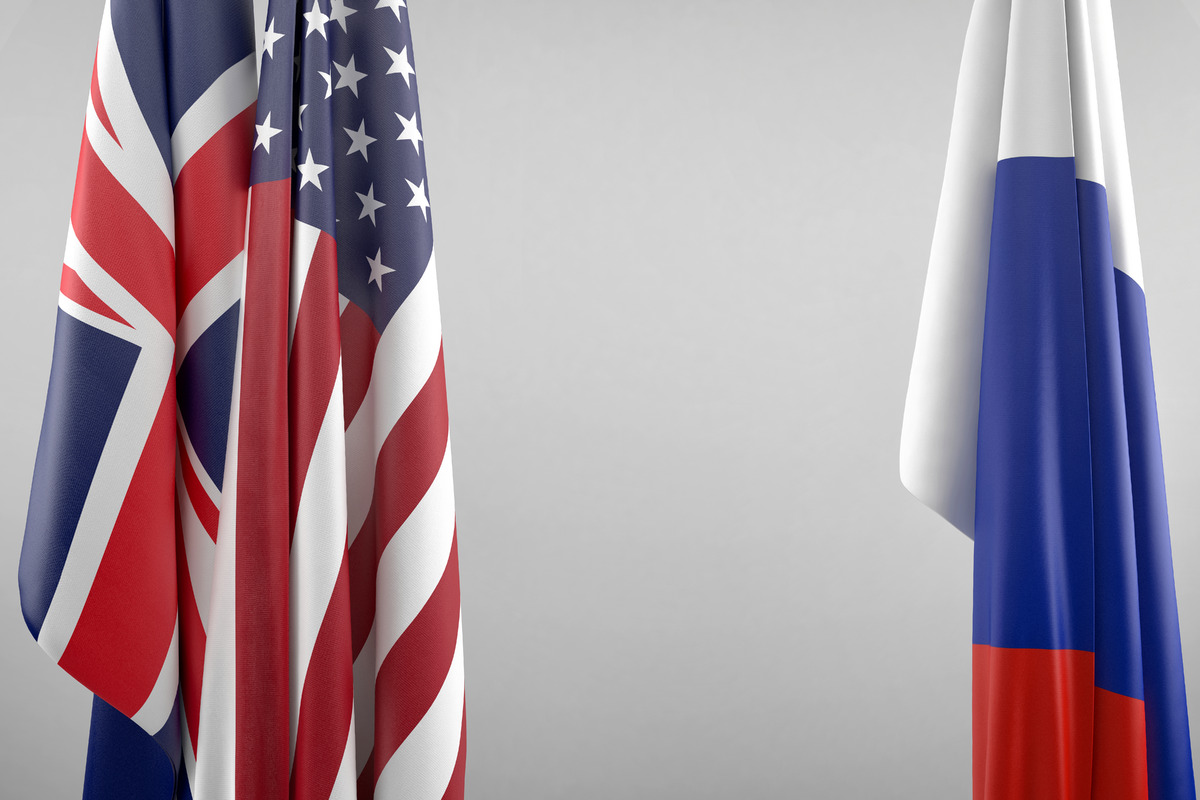 Flags of USA, UK and Russia. Geopolitical concept - slon.pics - free stock photos and illustrations