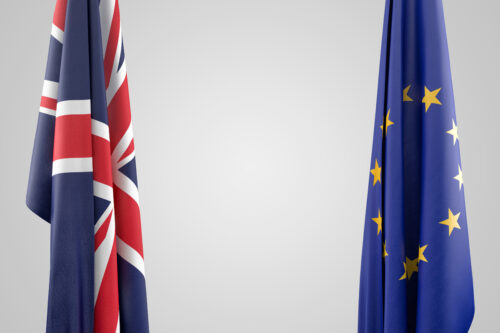 Flags of the United Kingdom and the European Union. 3D illustration. Contains clipping path - slon.pics - free stock photos and illustrations