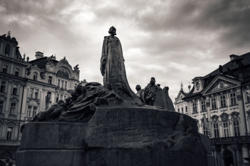 Jan Hus, the memorial in Old Town Square. Prague, Czech Republic - slon.pics - free stock photos and illustrations