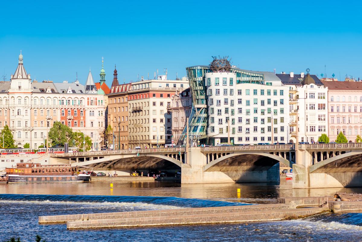 Jirasek Bridge and Rasinovo Nabrezi. Prague, Czech Republic - slon.pics - free stock photos and illustrations