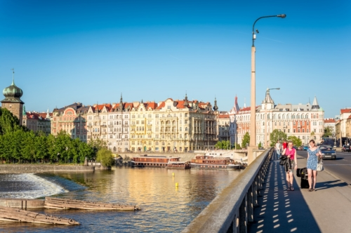 Jirasek bridge and embankment of Vltava river. Prague, Czech Republic, May 18, 2017 - slon.pics - free stock photos and illustrations