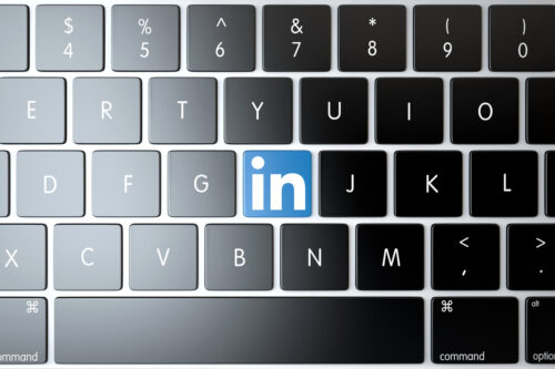 LinkedIn icon on laptop keyboard. Technology concept - slon.pics - free stock photos and illustrations