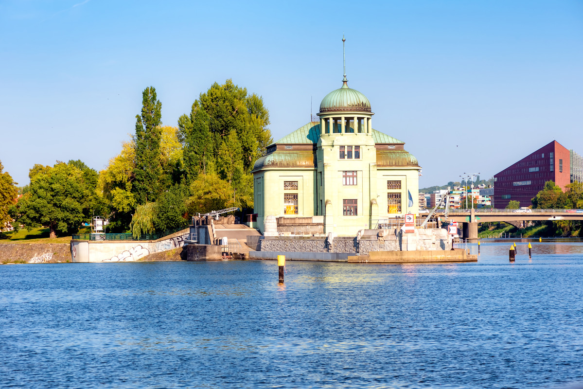 Old hydropower plant on the island of Stvanice. Prague, Czech Republic - slon.pics - free stock photos and illustrations