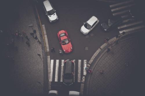 Overhead view of pedestrian crossing on Celetna street. Prague, Czech Republic - slon.pics - free stock photos and illustrations