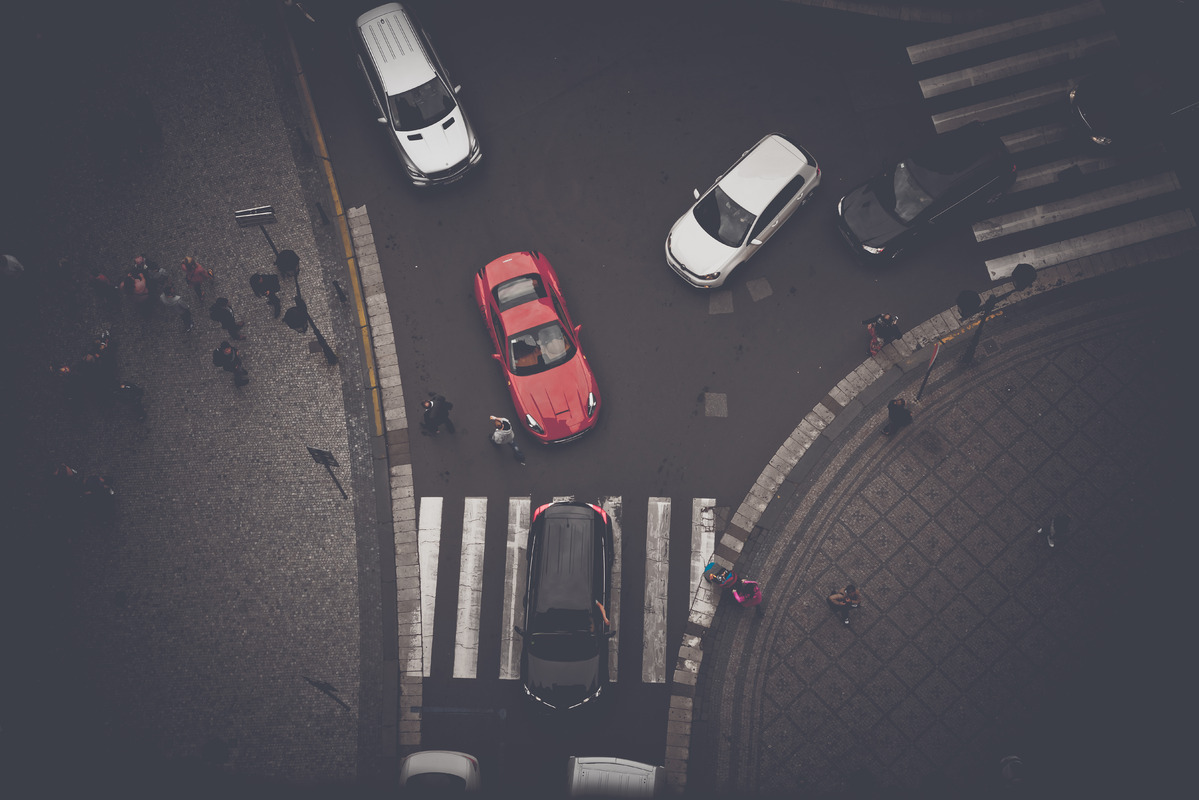 Overhead view of pedestrian crossing on Celetna street. Prague, Czech Republic - slon.pics - free stock photos and illustrations